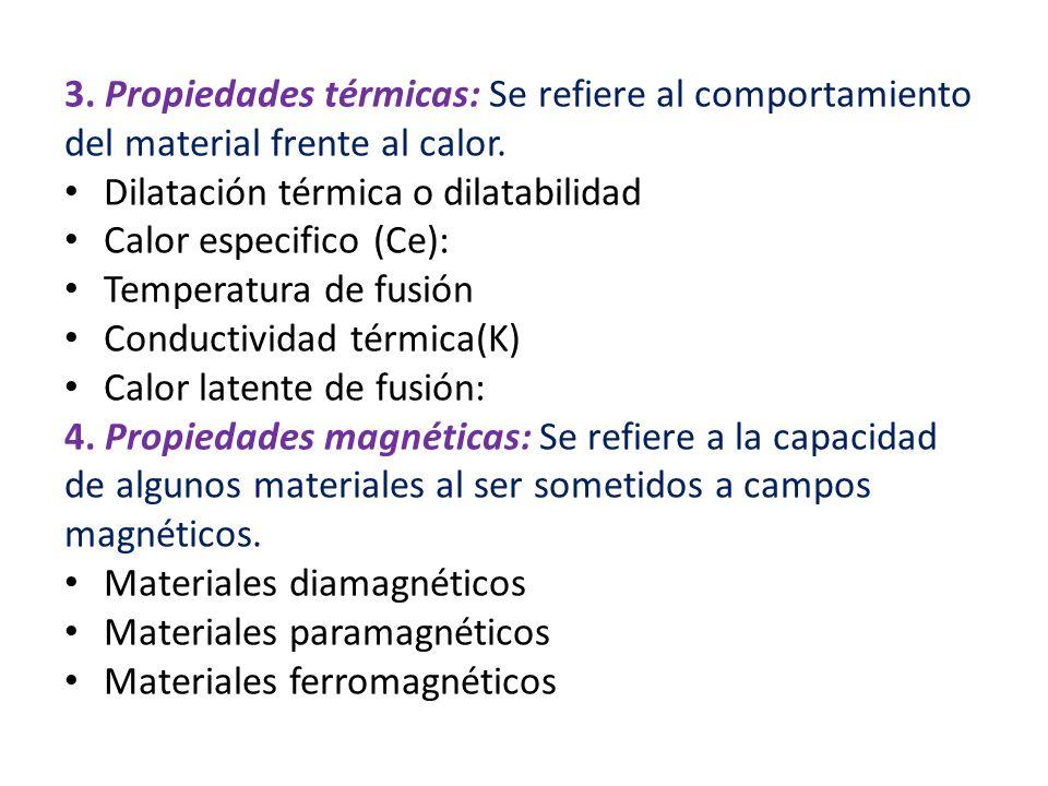 3. Propiedades térmicas: Se refiere al comportamiento del material frente al calor. Dilatación térmica o dilatabilidad Calor especifico (Ce): Temperat