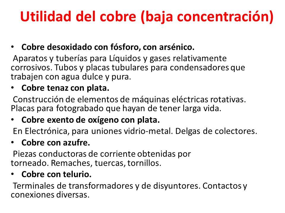 Utilidad del cobre (baja concentración) Cobre desoxidado con fósforo, con arsénico. Aparatos y tuberías para Líquidos y gases relativamente corrosivos