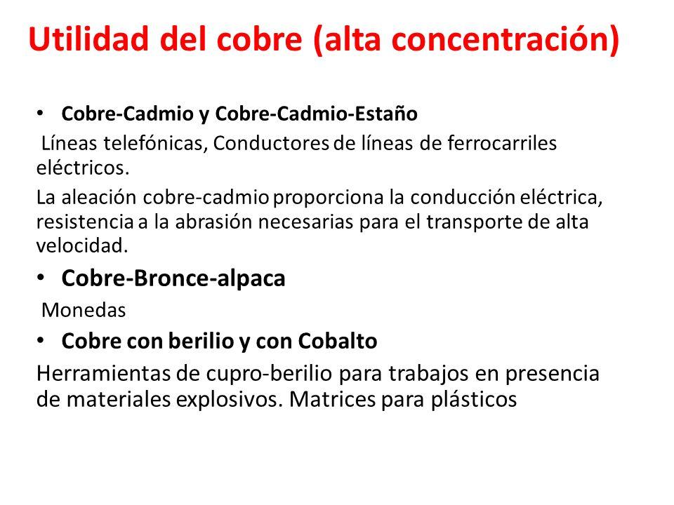 Utilidad del cobre (alta concentración) Cobre-Cadmio y Cobre-Cadmio-Estaño Líneas telefónicas, Conductores de líneas de ferrocarriles eléctricos. La a