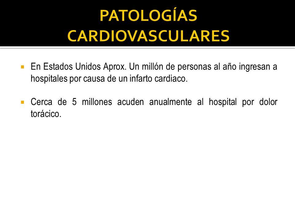 En Estados Unidos Aprox. Un millón de personas al año ingresan a hospitales por causa de un infarto cardiaco. Cerca de 5 millones acuden anualmente al