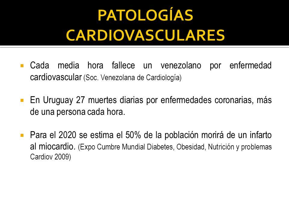 Cada media hora fallece un venezolano por enfermedad cardiovascular (Soc. Venezolana de Cardiología) En Uruguay 27 muertes diarias por enfermedades co
