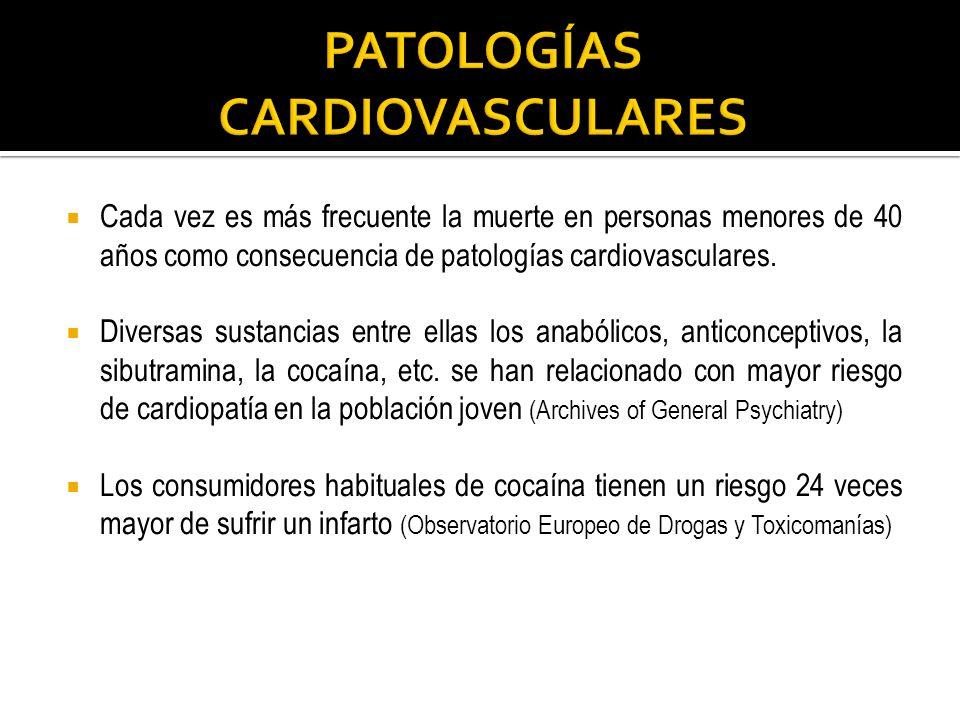 Cada vez es más frecuente la muerte en personas menores de 40 años como consecuencia de patologías cardiovasculares. Diversas sustancias entre ellas l