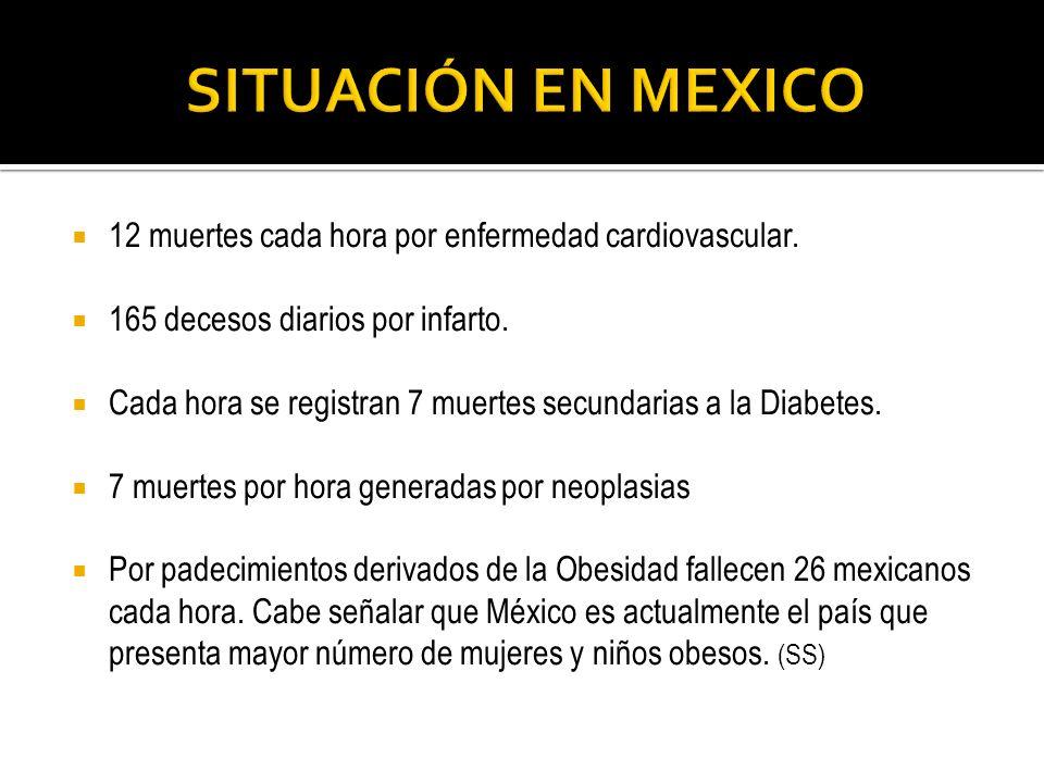 12 muertes cada hora por enfermedad cardiovascular. 165 decesos diarios por infarto. Cada hora se registran 7 muertes secundarias a la Diabetes. 7 mue