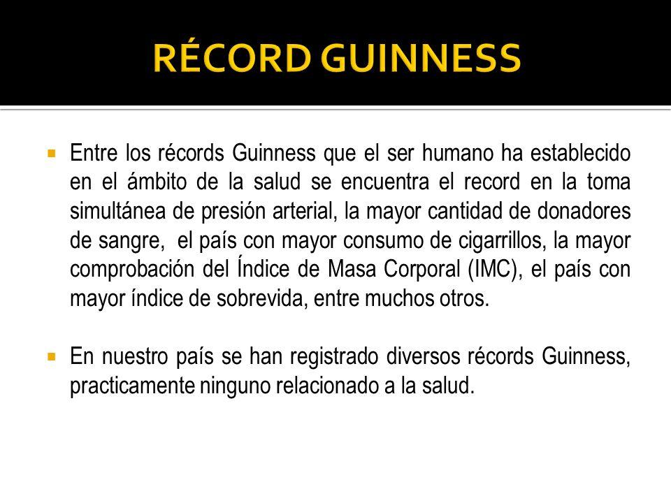 Entre los récords Guinness que el ser humano ha establecido en el ámbito de la salud se encuentra el record en la toma simultánea de presión arterial,