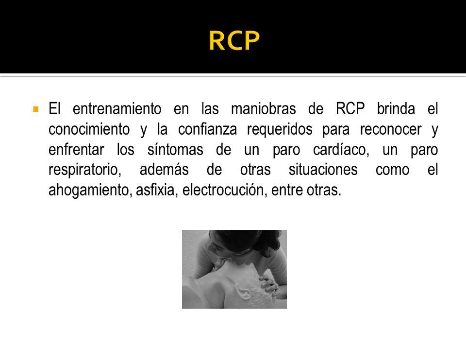 El entrenamiento en las maniobras de RCP brinda el conocimiento y la confianza requeridos para reconocer y enfrentar los síntomas de un paro cardíaco,