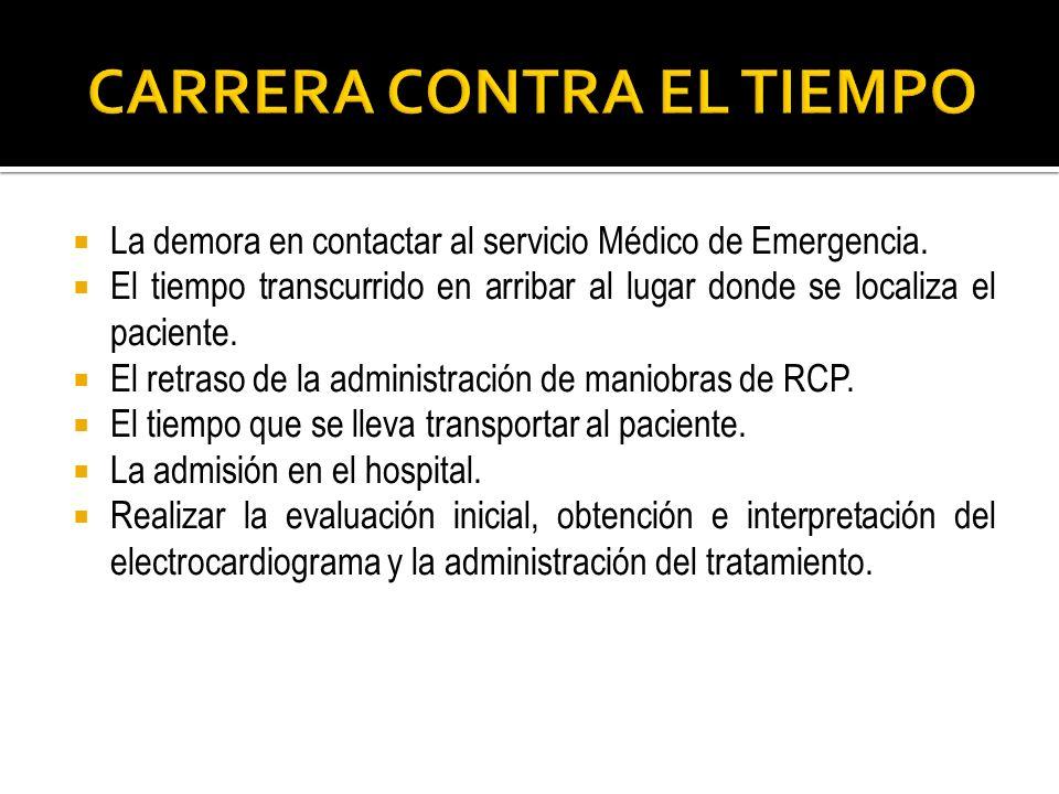La demora en contactar al servicio Médico de Emergencia. El tiempo transcurrido en arribar al lugar donde se localiza el paciente. El retraso de la ad