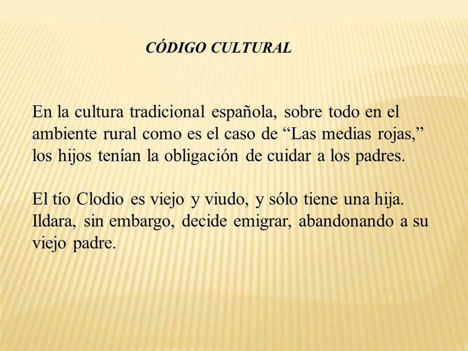 En la cultura tradicional española, sobre todo en el ambiente rural como es el caso de Las medias rojas, los hijos tenían la obligación de cuidar a lo