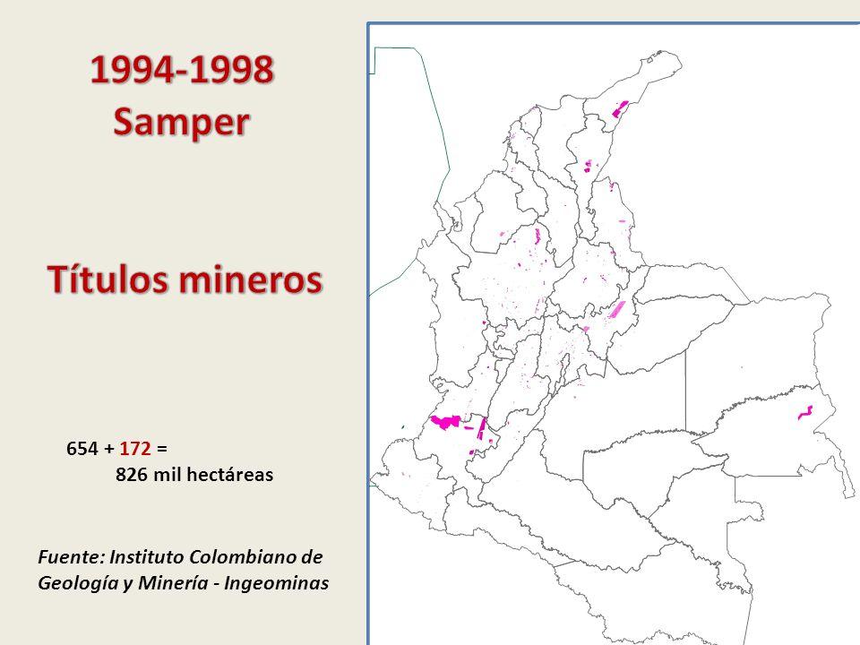 Fuente: Instituto Colombiano de Geología y Minería - Ingeominas 654 + 172 = 826 mil hectáreas