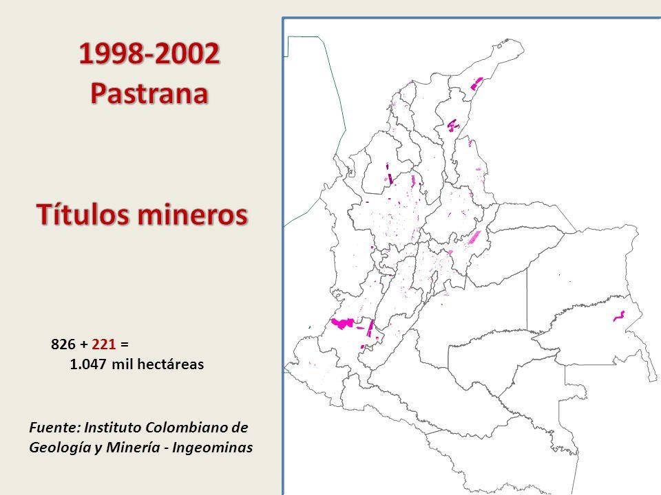 Fuente: Instituto Colombiano de Geología y Minería - Ingeominas 826 + 221 = 1.047 mil hectáreas
