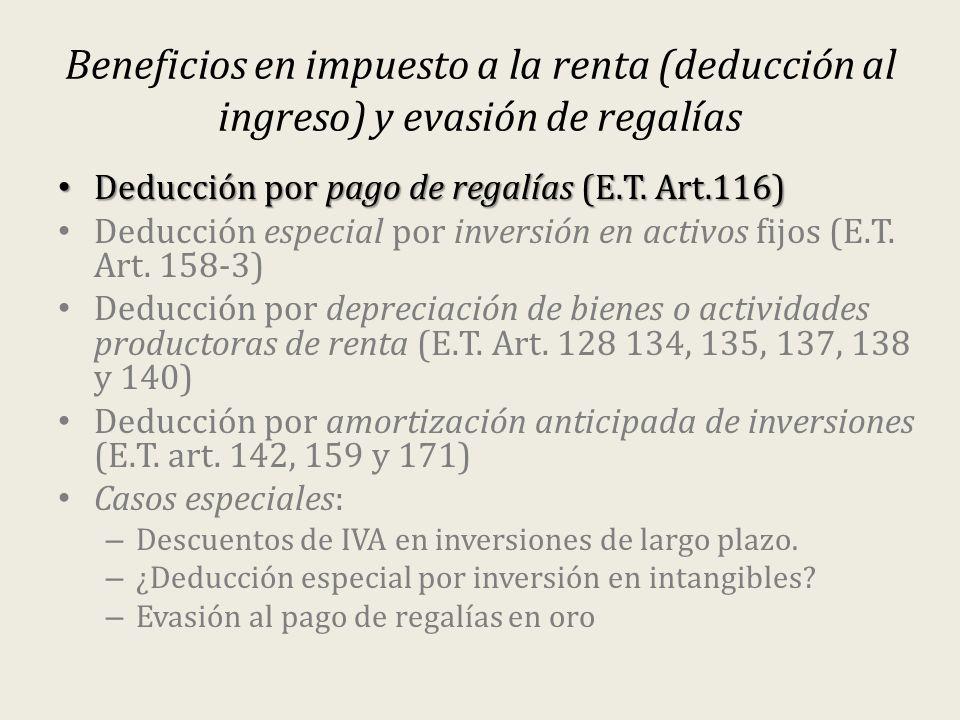 Beneficios en impuesto a la renta (deducción al ingreso) y evasión de regalías Deducción por pago de regalías (E.T. Art.116) Deducción por pago de reg