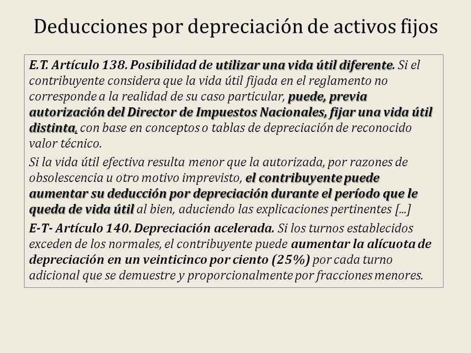 Deducciones por depreciación de activos fijos utilizar una vida útil diferente puede, previa autorización del Director de Impuestos Nacionales, fijar