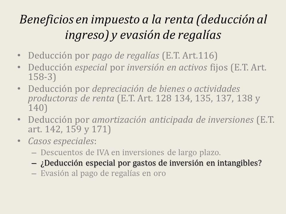 Beneficios en impuesto a la renta (deducción al ingreso) y evasión de regalías Deducción por pago de regalías (E.T. Art.116) Deducción especial por in