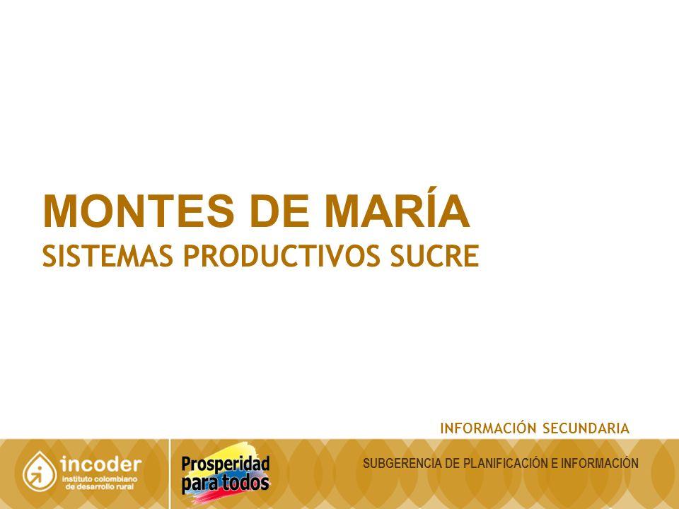 MONTES DE MARÍA SISTEMAS PRODUCTIVOS SUCRE INFORMACIÓN SECUNDARIA SUBGERENCIA DE PLANIFICACIÓN E INFORMACIÓN