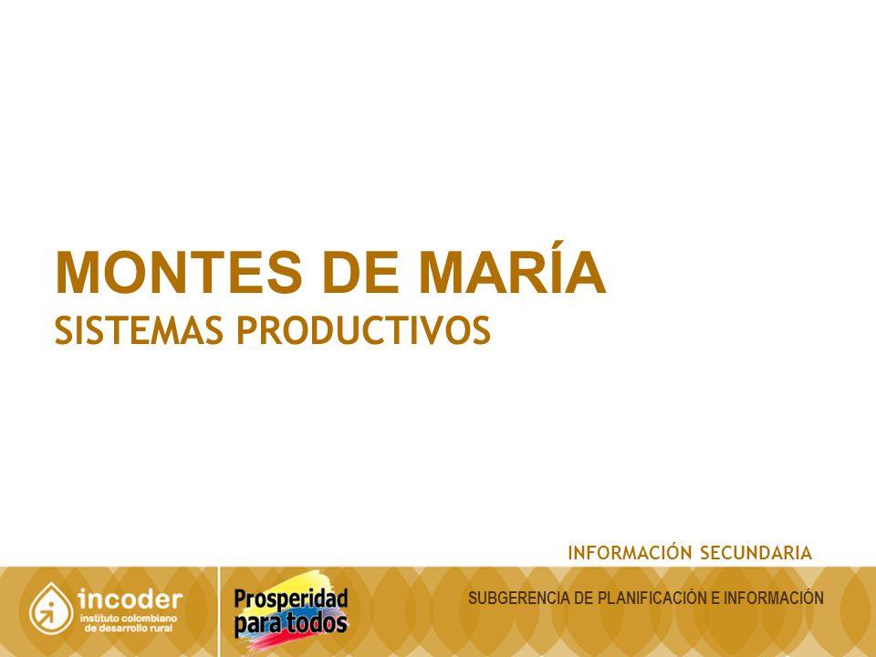 MONTES DE MARÍA SISTEMAS PRODUCTIVOS INFORMACIÓN SECUNDARIA SUBGERENCIA DE PLANIFICACIÓN E INFORMACIÓN