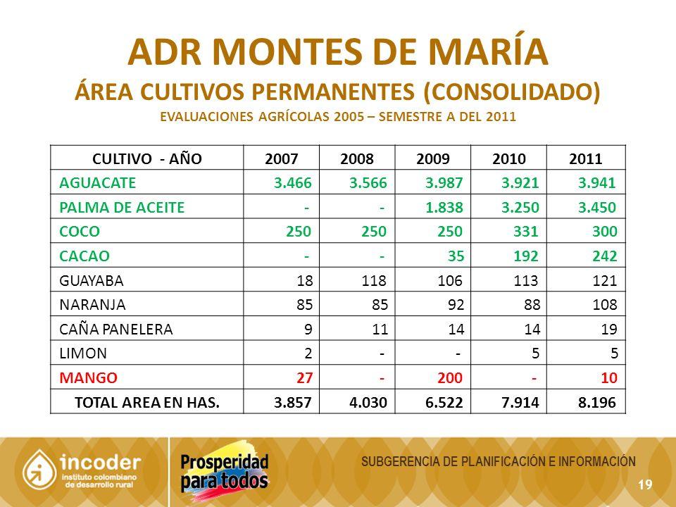 19 SUBGERENCIA DE PLANIFICACIÓN E INFORMACIÓN ADR MONTES DE MARÍA ÁREA CULTIVOS PERMANENTES (CONSOLIDADO) EVALUACIONES AGRÍCOLAS 2005 – SEMESTRE A DEL
