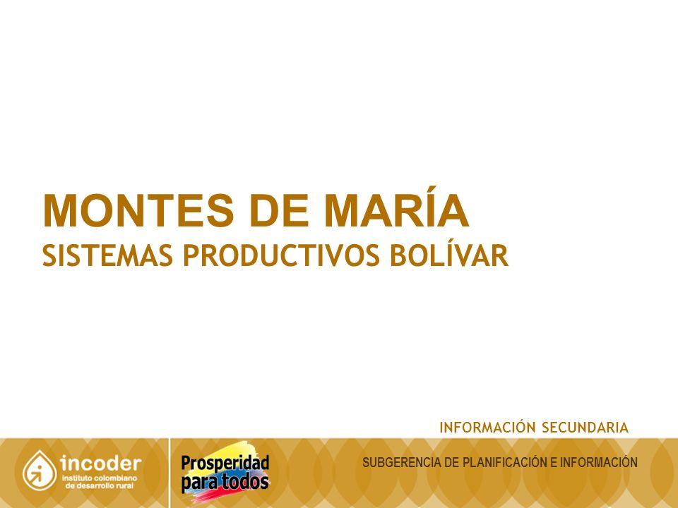 MONTES DE MARÍA SISTEMAS PRODUCTIVOS BOLÍVAR INFORMACIÓN SECUNDARIA SUBGERENCIA DE PLANIFICACIÓN E INFORMACIÓN