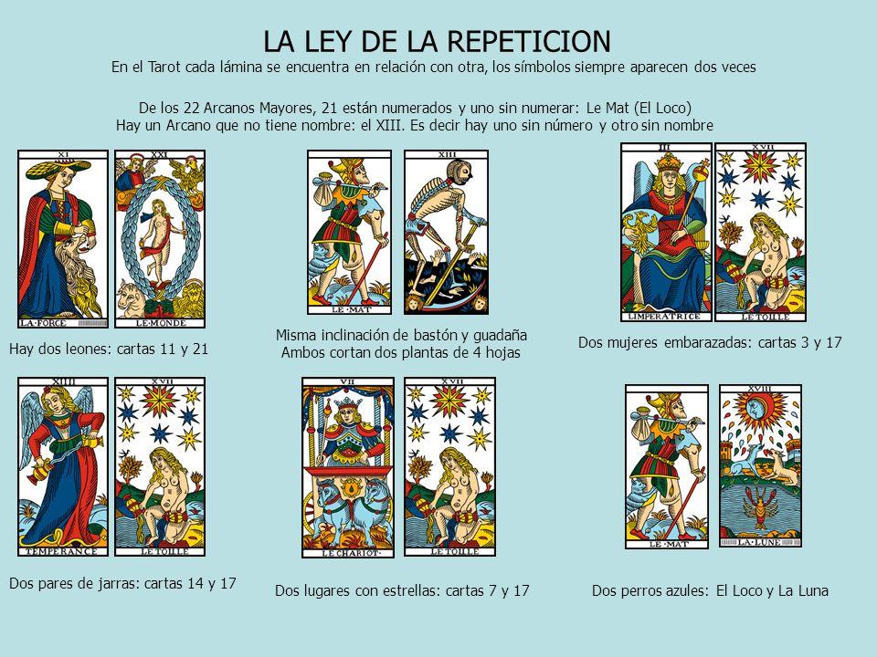 LA LEY DE LA REPETICION En el Tarot cada lámina se encuentra en relación con otra, los símbolos siempre aparecen dos veces De los 22 Arcanos Mayores,