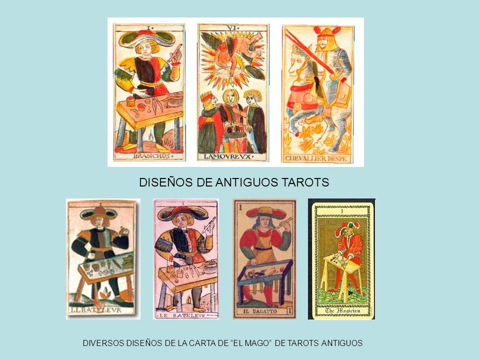 DIVERSOS DISEÑOS DE LA CARTA DE EL MAGO DE TAROTS ANTIGUOS DISEÑOS DE ANTIGUOS TAROTS
