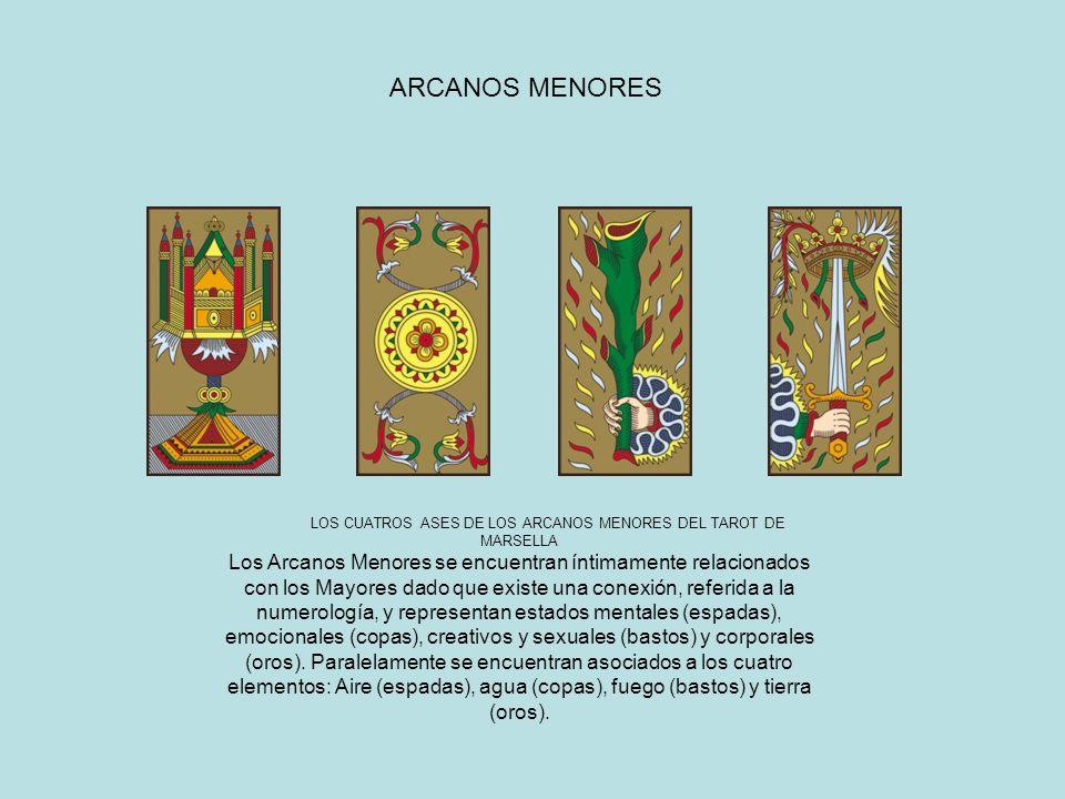LOS CUATROS ASES DE LOS ARCANOS MENORES DEL TAROT DE MARSELLA Los Arcanos Menores se encuentran íntimamente relacionados con los Mayores dado que exis