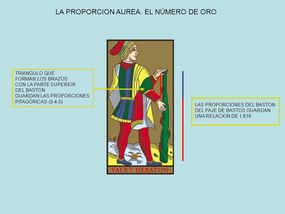LA PROPORCION AUREA. EL NÚMERO DE ORO LAS PROPORCIONES DEL BASTON DEL PAJE DE BASTOS GUARDAN UNA RELACION DE 1,618 TRIANGULO QUE FORMAN LOS BRAZOS CON