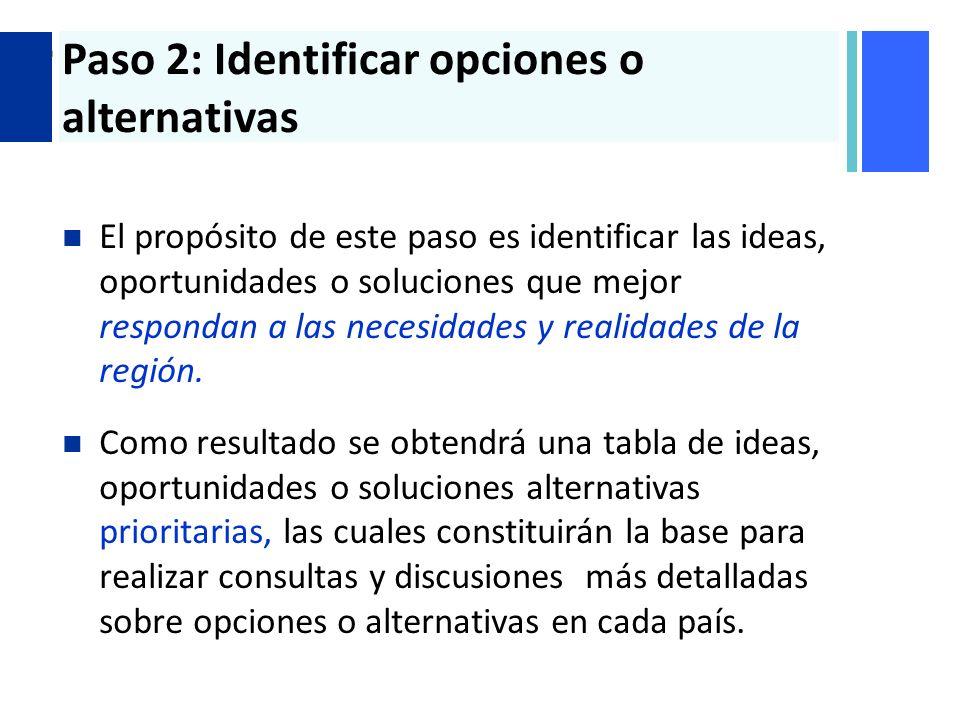 + Paso 2: Identificar opciones o alternativas El propósito de este paso es identificar las ideas, oportunidades o soluciones que mejor respondan a las