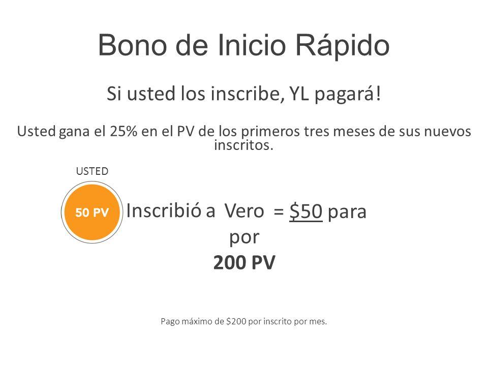 Bono de Inicio Rápido Si usted los inscribe, YL pagará! Usted gana el 25% en el PV de los primeros tres meses de sus nuevos inscritos. Inscribió a = $