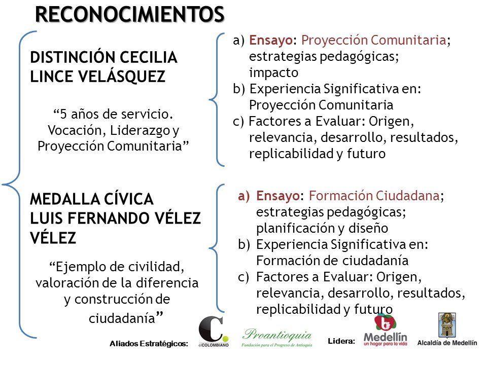 Aliados Estratégicos: Lidera: ESCUDO ANA MADRID ARANGO Destacarse por su meritoria labor directiva y administrativa Categoría Oro: 15 años o más al servicio de la educación, por lo menos diez (10) de ellos en el Municipio de Medellín Categoría Plata: 10 o más años al servicio de la educación, por lo menos cinco (5) de ellos en el Municipio de Medellín.