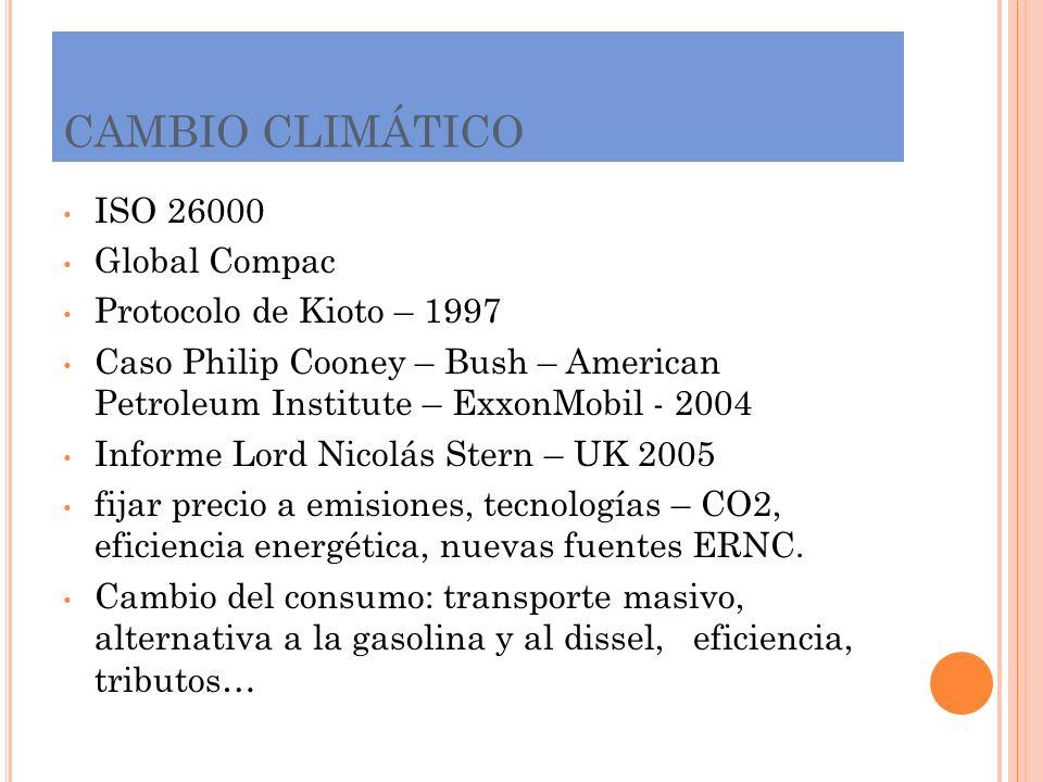 CAMBIO CLIMÁTICO ISO 26000 Global Compac Protocolo de Kioto – 1997 Caso Philip Cooney – Bush – American Petroleum Institute – ExxonMobil - 2004 Inform