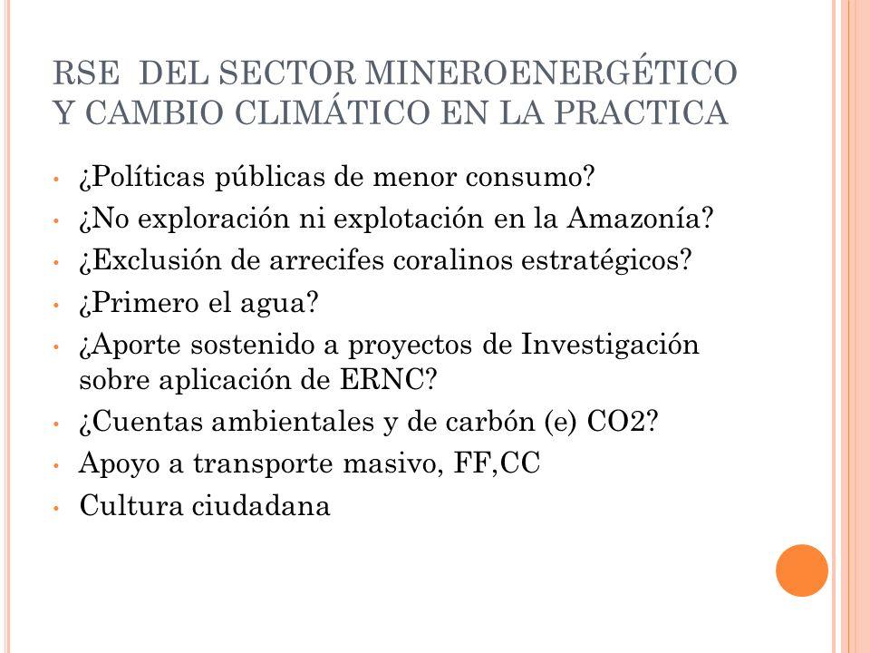 RSE DEL SECTOR MINEROENERGÉTICO Y CAMBIO CLIMÁTICO EN LA PRACTICA ¿Políticas públicas de menor consumo? ¿No exploración ni explotación en la Amazonía?
