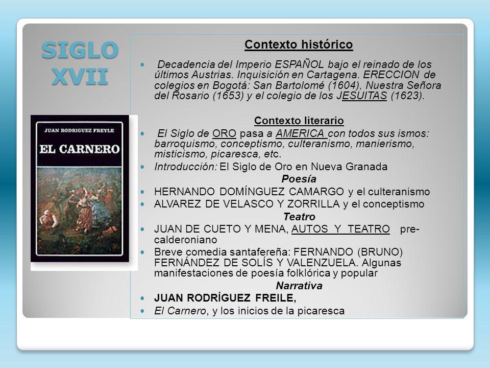 SIGLO XVII Contexto histórico Decadencia del Imperio ESPAÑOL bajo el reinado de los últimos Austrias. Inquisición en Cartagena. ERECCION de colegios e