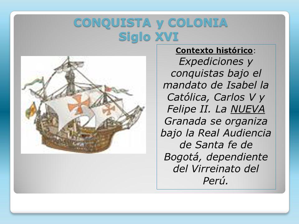 CONQUISTA y COLONIA Siglo XVI CONQUISTA y COLONIA Siglo XVI Contexto histórico: Expediciones y conquistas bajo el mandato de Isabel la Católica, Carlo
