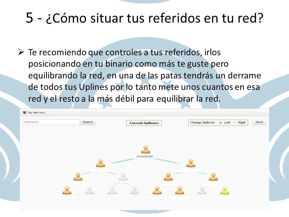 5 - ¿Cómo situar tus referidos en tu red? Te recomiendo que controles a tus referidos, irlos posicionando en tu binario como más te guste pero equilib