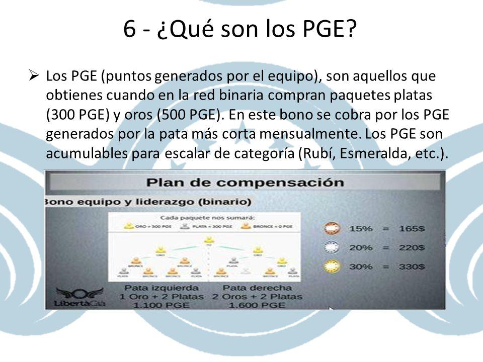 6 - ¿Qué son los PGE? Los PGE (puntos generados por el equipo), son aquellos que obtienes cuando en la red binaria compran paquetes platas (300 PGE) y