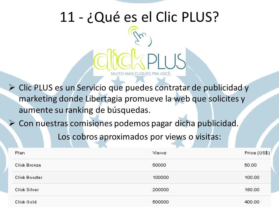 11 - ¿Qué es el Clic PLUS? Clic PLUS es un Servicio que puedes contratar de publicidad y marketing donde Libertagia promueve la web que solicites y au
