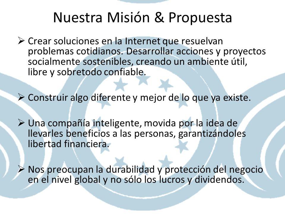 Nuestra Misión & Propuesta Crear soluciones en la Internet que resuelvan problemas cotidianos. Desarrollar acciones y proyectos socialmente sostenible