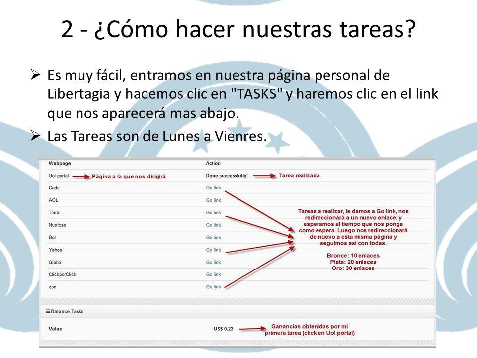 2 - ¿Cómo hacer nuestras tareas? Es muy fácil, entramos en nuestra página personal de Libertagia y hacemos clic en