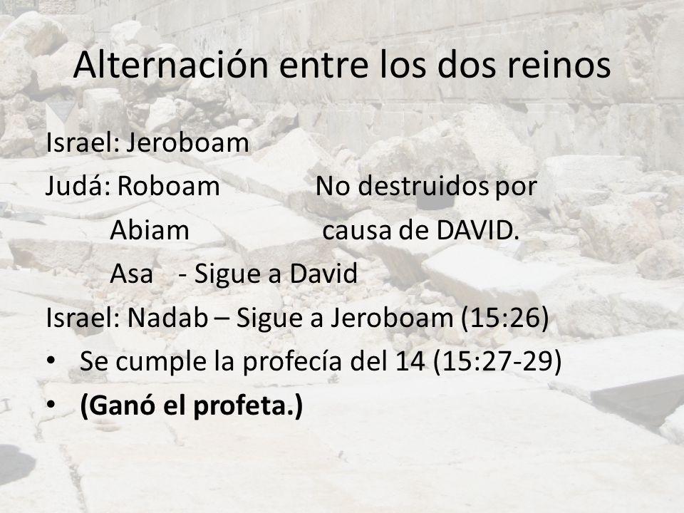 Alternación entre los dos reinos Israel: Jeroboam Judá: RoboamNo destruidos por Abiam causa de DAVID. Asa - Sigue a David Israel: Nadab – Sigue a Jero