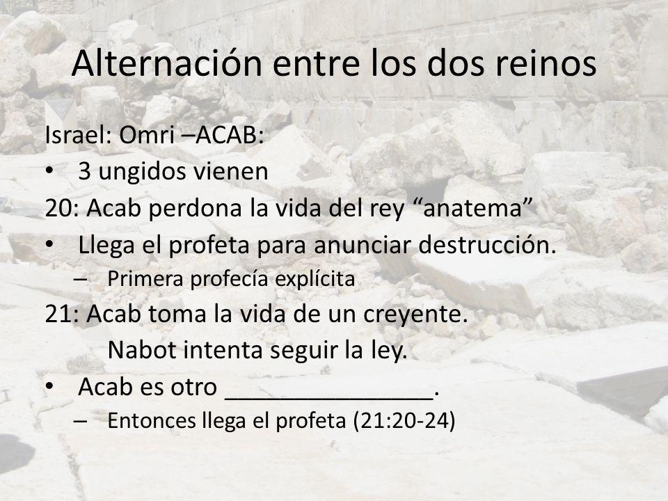 Alternación entre los dos reinos Israel: Omri –ACAB: 3 ungidos vienen 20: Acab perdona la vida del rey anatema Llega el profeta para anunciar destrucc