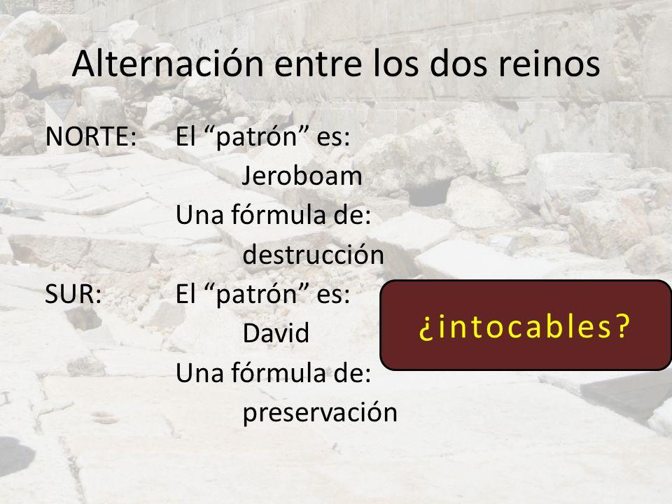 Alternación entre los dos reinos NORTE: El patrón es: Jeroboam Una fórmula de: destrucción SUR: El patrón es: David Una fórmula de: preservación ¿into