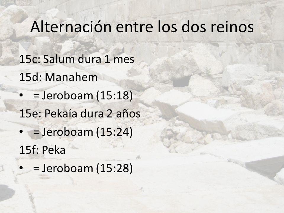 Alternación entre los dos reinos 15c: Salum dura 1 mes 15d: Manahem = Jeroboam (15:18) 15e: Pekaía dura 2 años = Jeroboam (15:24) 15f: Peka = Jeroboam