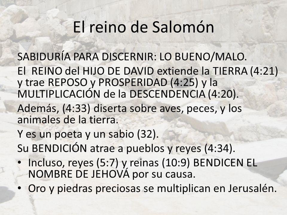 El reino de Salomón SABIDURÍA PARA DISCERNIR: LO BUENO/MALO. El REINO del HIJO DE DAVID extiende la TIERRA (4:21) y trae REPOSO y PROSPERIDAD (4:25) y