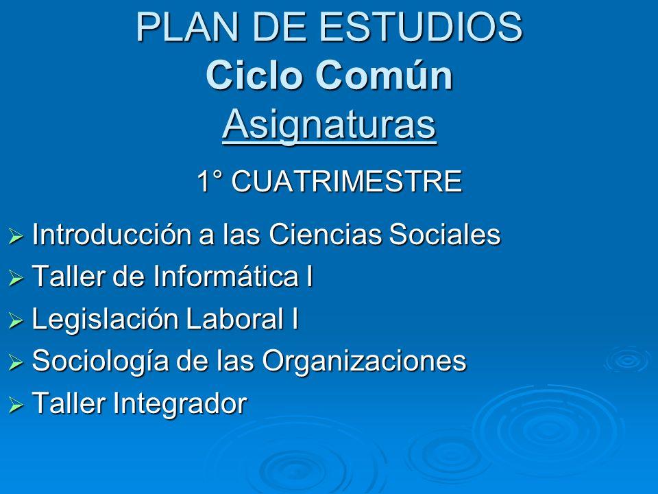 PLAN DE ESTUDIOS Ciclo Común Asignaturas 1° CUATRIMESTRE Introducción a las Ciencias Sociales Introducción a las Ciencias Sociales Taller de Informáti