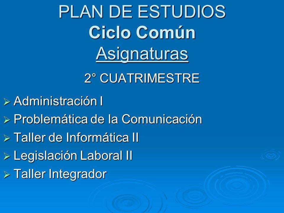 PLAN DE ESTUDIOS Ciclo Común Asignaturas 2° CUATRIMESTRE Administración I Administración I Problemática de la Comunicación Problemática de la Comunica