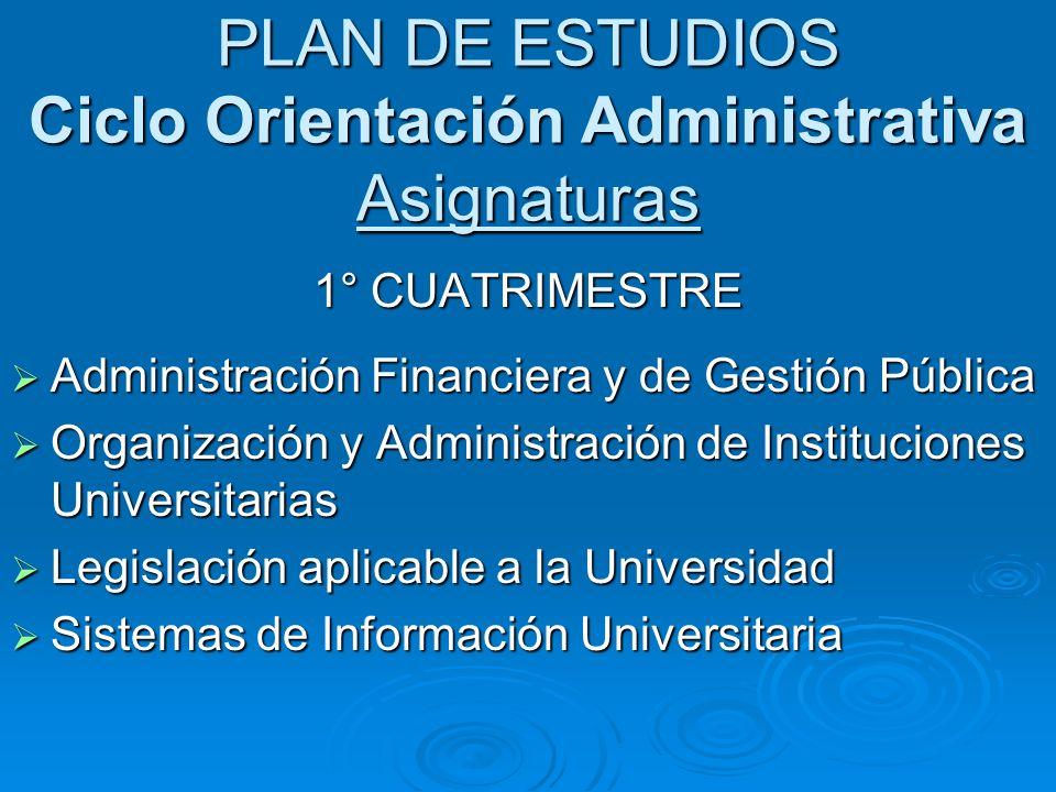 PLAN DE ESTUDIOS Ciclo Orientación Administrativa Asignaturas 1° CUATRIMESTRE Administración Financiera y de Gestión Pública Administración Financiera