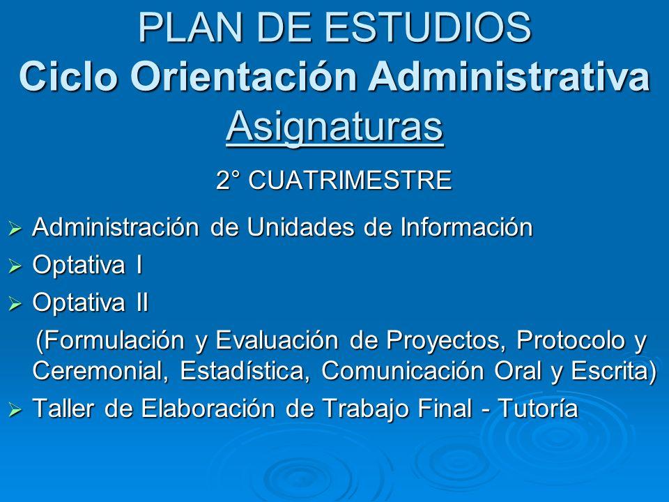 PLAN DE ESTUDIOS Ciclo Orientación Administrativa Asignaturas 2° CUATRIMESTRE Administración de Unidades de Información Administración de Unidades de