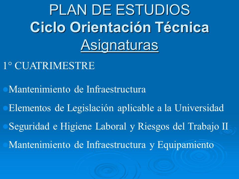 1° CUATRIMESTRE Mantenimiento de Infraestructura Elementos de Legislación aplicable a la Universidad Seguridad e Higiene Laboral y Riesgos del Trabajo