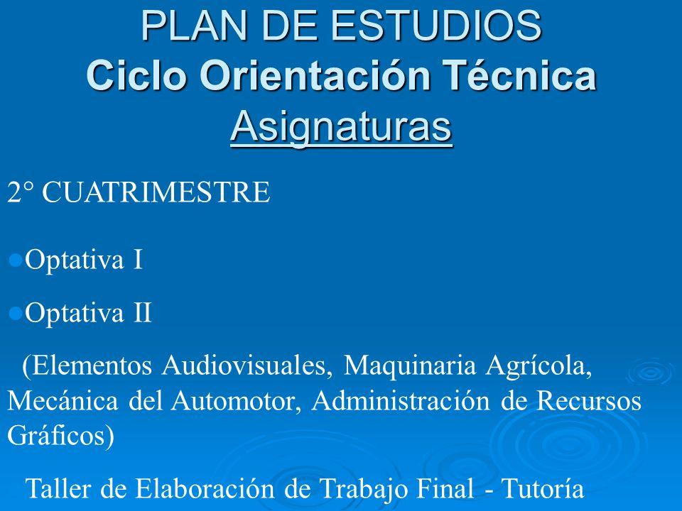 2° CUATRIMESTRE Optativa I Optativa II (Elementos Audiovisuales, Maquinaria Agrícola, Mecánica del Automotor, Administración de Recursos Gráficos) Tal