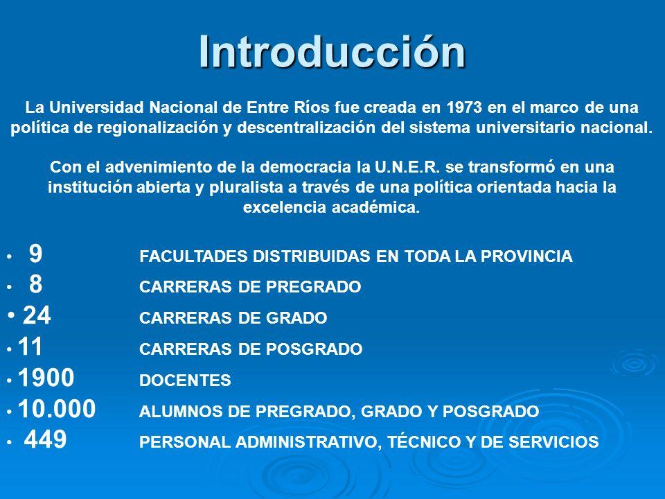 Introducción La Universidad Nacional de Entre Ríos fue creada en 1973 en el marco de una política de regionalización y descentralización del sistema universitario nacional.