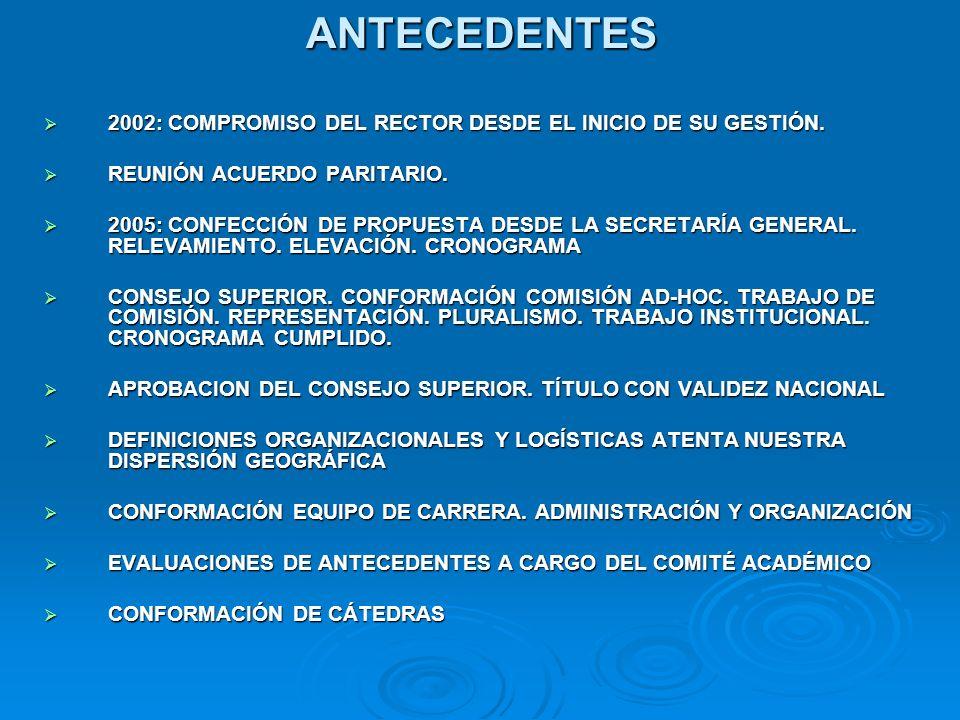 ANTECEDENTES 2002: COMPROMISO DEL RECTOR DESDE EL INICIO DE SU GESTIÓN.