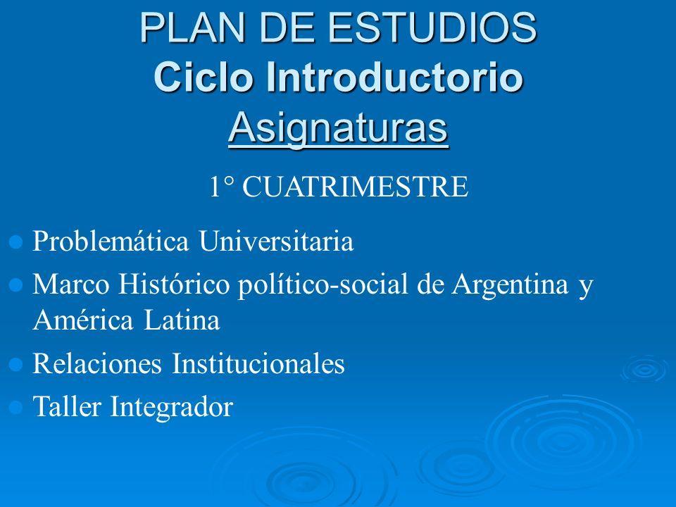 PLAN DE ESTUDIOS Ciclo Introductorio Asignaturas 1° CUATRIMESTRE Problemática Universitaria Marco Histórico político-social de Argentina y América Lat